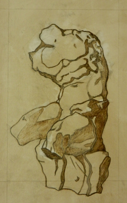 Belvedere Torso - Wash Drawing